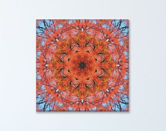 Blissfulness mandala print on canvas ~ Illawarra Flame Tree Inspirational wall art ~ Nature Photography ~ Modern art on canvas ~ Feng Shui