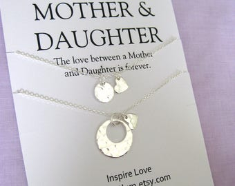 MOTHER Daughter necklace Set. Birthday gift for Mom. Mother of the Bride Gift. Mommy Me Jewelry. Push Present Adoption Jewelry gift.
