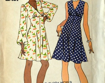 Uncut 1970s Butterick Vintage Sewing Pattern 3636, Size 16; Misses' Dress
