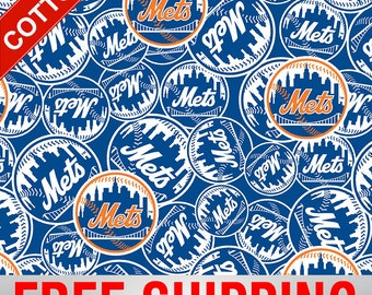 """New York Mets Cotton Fabric MLB Style# METS-6666 60"""" Wide. Free Shipping!!"""