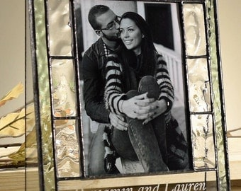 Wedding Anniversary Gift Personalized Picture Frame Engraved 4x6 Vertical Photo Frame Wedding Engagement Gift Pic 389-46V EP 545