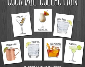Cocktail Print - Kitchen Art - Bar Prints - Cocktail Art - Bar Decor - Kitchen Decor - Bar Art - Drink Sign - Bar Sign - Restaurant Wall Art