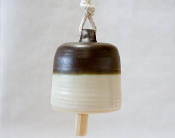 Handmade Ceramic Bell, Pottery Garden Bell, Modern Home Decor, White Green and Bronze, Minimalist, Anniversary Grad Gift, Matte Rustic Wood