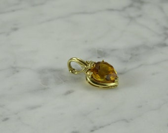 14 k Gold / Citrine / Diamond Pendant / Enhancer