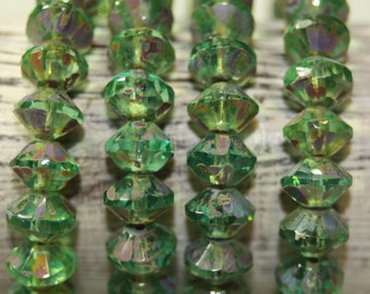 Czech Glass Beads, 6x9mm Saucer Shaped, 25 Beads