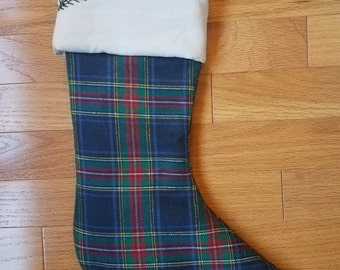 Navy, Red, Green, and Yellow Plaid Flannel Christmas Stocking - Personalizable - Hand Embroidered