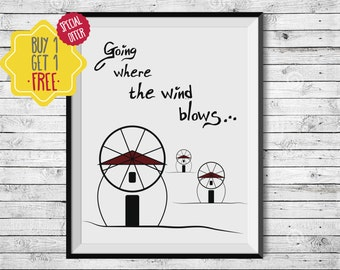 Windmill art, Windmill wall art, architectural wall decor, quotes for wall, Travel poster, printable art, architecture poster, island art