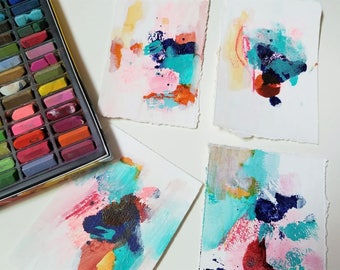 Hand Painted Abstract Art Cards