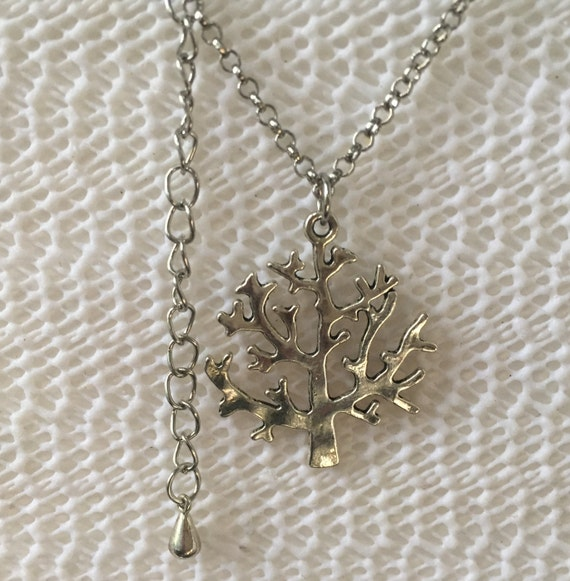 Tree of Life Antique Silver Necklace with Antique silver double sided Charm
