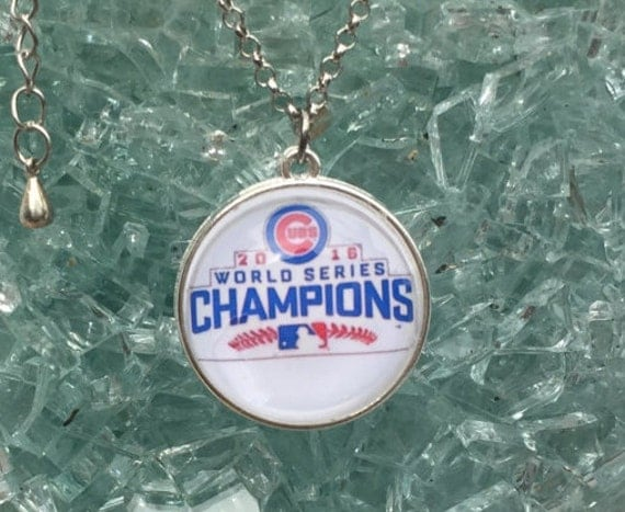 Chicago Cubs Championship Necklace, doublesided with domed glass