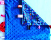 Blue Minky Tag Blanket ~ Sensory Blanket ~ Tag Blanket ~ Lovey ~ Blue Minky Cuddle blanket