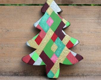 Wooden Tree, Small Tree, Victorian Tree, Christmas Tree, Wood Tree, Plaid Christmas, Red, Green, Hand painted tree, Plaid decor, Distressed