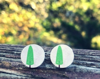 12mm Wood nickel-free earrings - skinny trees