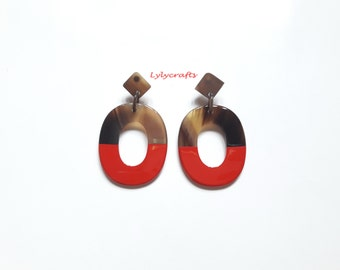 Chic buffalo horn earrings, Lacquering in Red color [EA-023]