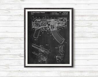 Gun Poster, Ak-47 Bolt Locking Patent Print, Firegun, Gun Gifts, Assault Rifle, Gun Art #P355