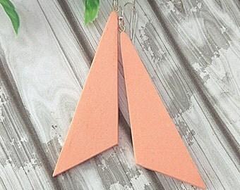 Peach geometric earrings, Long earrings, Minimalist earrings, Dangle earrings, Abstract earrings, Triangle earrings, Sterling silver, Clay