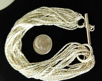 Moler 10 Strand Sterling Silver Bracelet