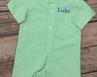 Blue or Green Boys Button Up Romper - Free Monogram