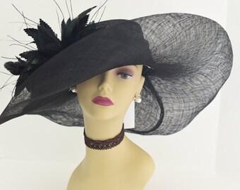 High Quality NEW Kentucky Derby, Church, Wedding, Tea Party Sinamay Feather Flower Wide Brim Dress Hat 508 ( Black )