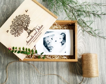 Wedding Photo Box Engraved Wedding Photo Memory Box Personalized Box Keepsake box Wedding  gift for couple Anniversary gift wooden photo box