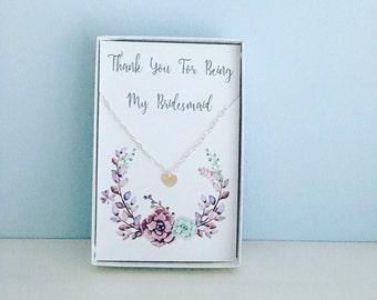 Bridesmaid necklace, thank you bridesmaid, Bridesmaid gift, bridesmaid jewellery, bridal party necklace, thank you present, heart necklace,