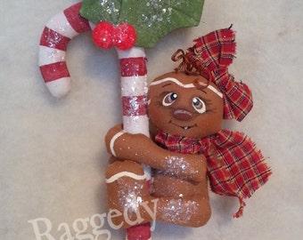 Handmade Primitive Gingerbread Girl - Candy Cane - Christmas Ornament - Mica Flakes - Homespun #2