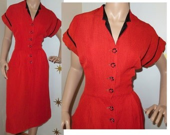 Vintage 1950s red black rhinestone button dolman wiggle dress w/ pockets medium 230