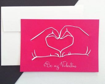 Map of Valentine - Be My Valentine - paper cut - hands hearts