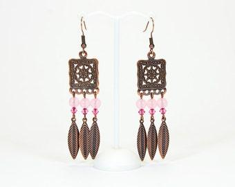 Chalcedony pink earrings, copper tone findings
