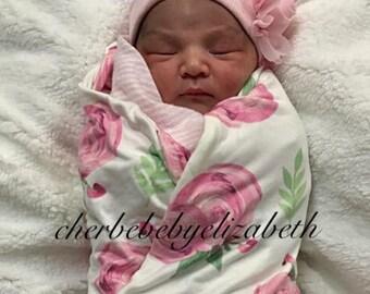 Hospital hat, Newborn soft Pink chiffon flower, pink Beanie, free gift wrap, Newborn baby girl chiffon pink rose hat, Hospital Hat