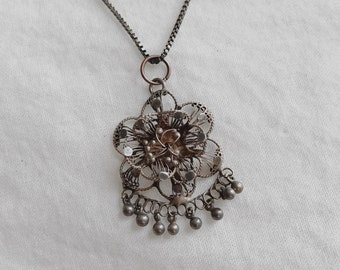 Vintage Braided Wire Flower Charm Necklace