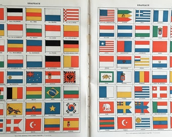 FLAGS.1904's-Old Chromolithography.Color.Big measure. 24,41 ins x 12,2 ins
