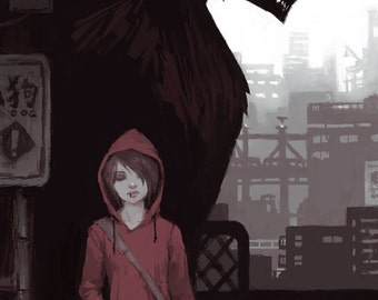 Red Riding Hood Art Print // Fantasy Gifts // Urban