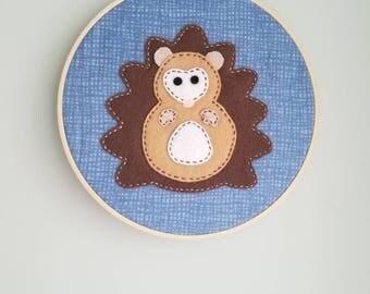 Felt hedgehog embroidery, hedgehog embroidery, 7 inch embroidery hoop
