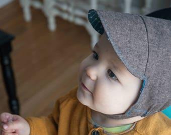 Baby boy cap // boy sun cap // reversible baby boy hat // Tweeds and Arrows