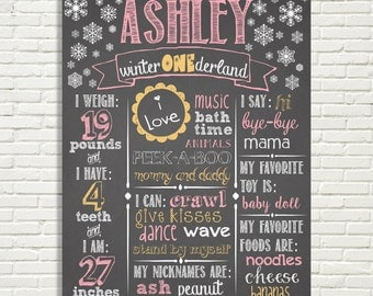 "Winter ONEderland Girls Chalkboard First Birthday Sign 16x20"" Poster or *Choose Your Own Colors* Digital File ONLY"