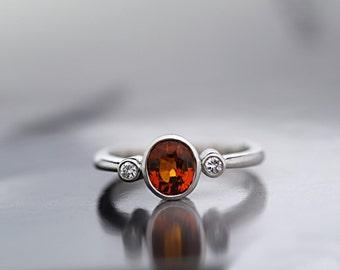 Garnet Gold Ring - Garnet Diamond Three Stones Ring - 18 ct White Gold - Garnet Engagement Ring -Hand made to Order