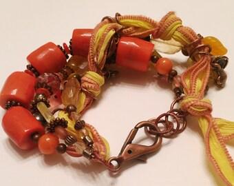 Citrine and Coral Bracelet