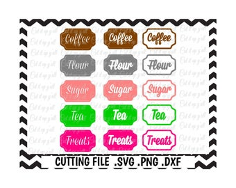Kitchen Canister Labels, Flour, Tea, Sugar, Coffee, Treats, SVG-Dxf-Png-Fcm,studio3 Cut Files For Silhouette Cameo/ Cricut, Svg Download.
