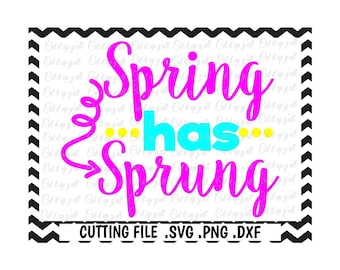 Spring Has Sprung Cutting File, Svg-Dxf-Fcm-Png, Cut Files For Silhouette Cameo/ Cricut, Svg Download.