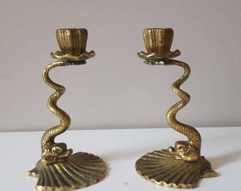 PAIR Vintage Mid Century Hollywood Regency Brass Koi Fish Serpentine Fish Candle Holders