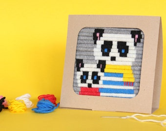 Panda, Christmas, Winter embroidery kit for girls and moms - embroidery kit for beginne, DIY kids kit - birthday gift craft  kit
