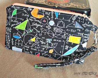Math Wristlet Wallet- Math Formulas Clutch-Wallet-Science Geek-Math Nerd-OOAK-Teacher Gift-Makeup Bag-Smartphone-Quick Shipping-Custom Made