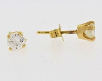 Vintage Diamond Stud Earrings- 14k Yellow Gold