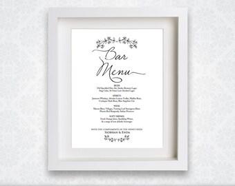 Wedding Bar Menu Drinks Sign Editable And Printable List Template