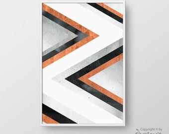 Printable Geometric Wall Art, Modern Print, Abstract Geometric Poster, Modern Art, Digital Print, Grey Orange Poster, Triangle Print