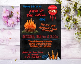 BBQ bonfire beer invitation bbq party invite bonfire party  backyard bbq invitation backyard bonfire invitation adult party cookout