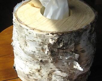 Unique birch tissue box cover
