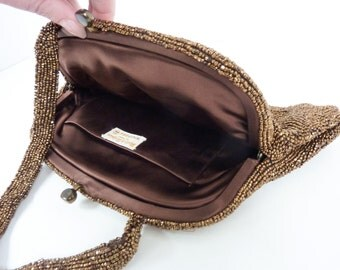 Vintage Beaded Purse | 1940s Handmade Belgian Evening Bag by Walborg | Bronze Cocoa Brown Clutch with Silk Lining and Strap