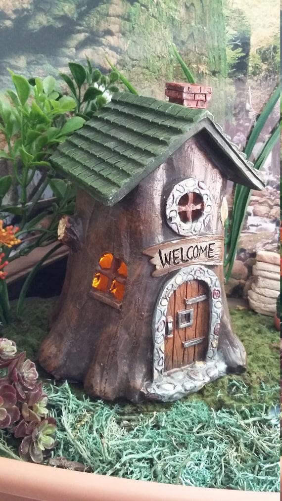 Gnome Tree Stump Home: Fairy Garden Miniature Fairy House Tree Stump Woodland Fairy